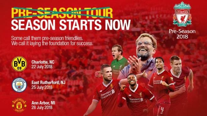 Lịch thi đấu giao hữu mùa Hè 2018 của Liverpool