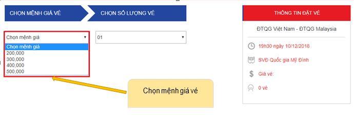 Hướng dẫn mua vé online trận Việt Nam vs Philippines (19h30, 06/12)