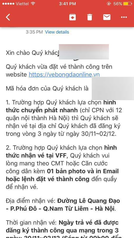 Vé online trận Việt Nam vs Philippines đã bán được khoảng 85%
