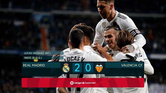 Video clip bàn thắng Real Madrid 2-0 Valencia: Real áp sát Top 4