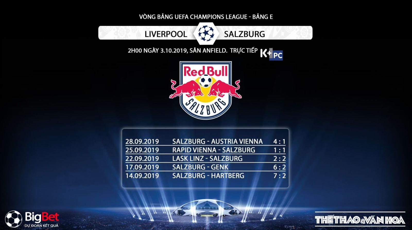 Liverpool vs Red Bull Salzburg, kèo bóng đá, truc tiep bong da, trực tiếp bóng đá, K+, K+PM, xem bong da, trực tiếp bóng đá hôm nay, trực tiếp cúp C1 châu Âu, Liverpool