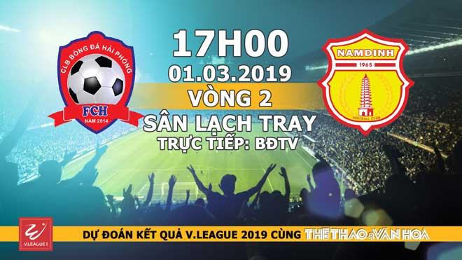Xem trực tiếp bóng đá Hải Phòng vs Nam Định (17h00, 01/03). BĐTV trực tiếp