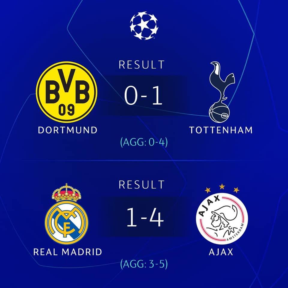 ajax, real madrid, real 1-4 ajax, Lịch thi đấu Cúp C1, lich thi dau cup c1, lịch thi đấu bóng đá cúp c1, trực tiếp bóng đá cúp c1, Real vs Ajax, Dortmund vs Tottenham, xem truc tiep bong da k+