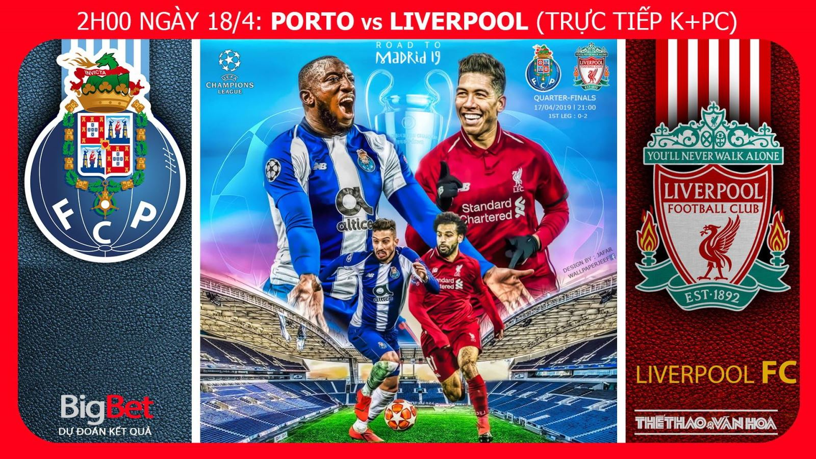 Soi kèo dự đoán bóng đá Porto vs Liverpool (2h00 ngày 18/4), lượt về tứ kết Cúp C1. Trực tiếp K+PC