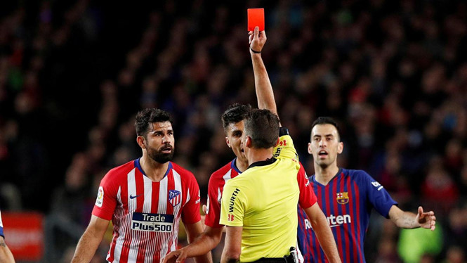 Diego Costa, Atletico Madrid, Barca, treo giò, thẻ đỏ, diego costa, atletico
