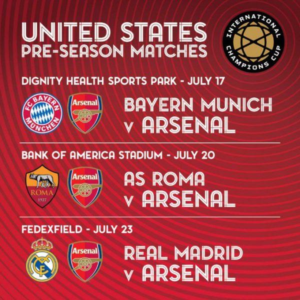 Arsenal, lịch thi đấu Arsenal, lịch giao hữu mùa Hè của Arsenal, lịch thi đấu bóng đá hôm nay, lịch du đấu Arsenal, kết quả du đấu Arsenal, lịch thi đấu ICC 2019