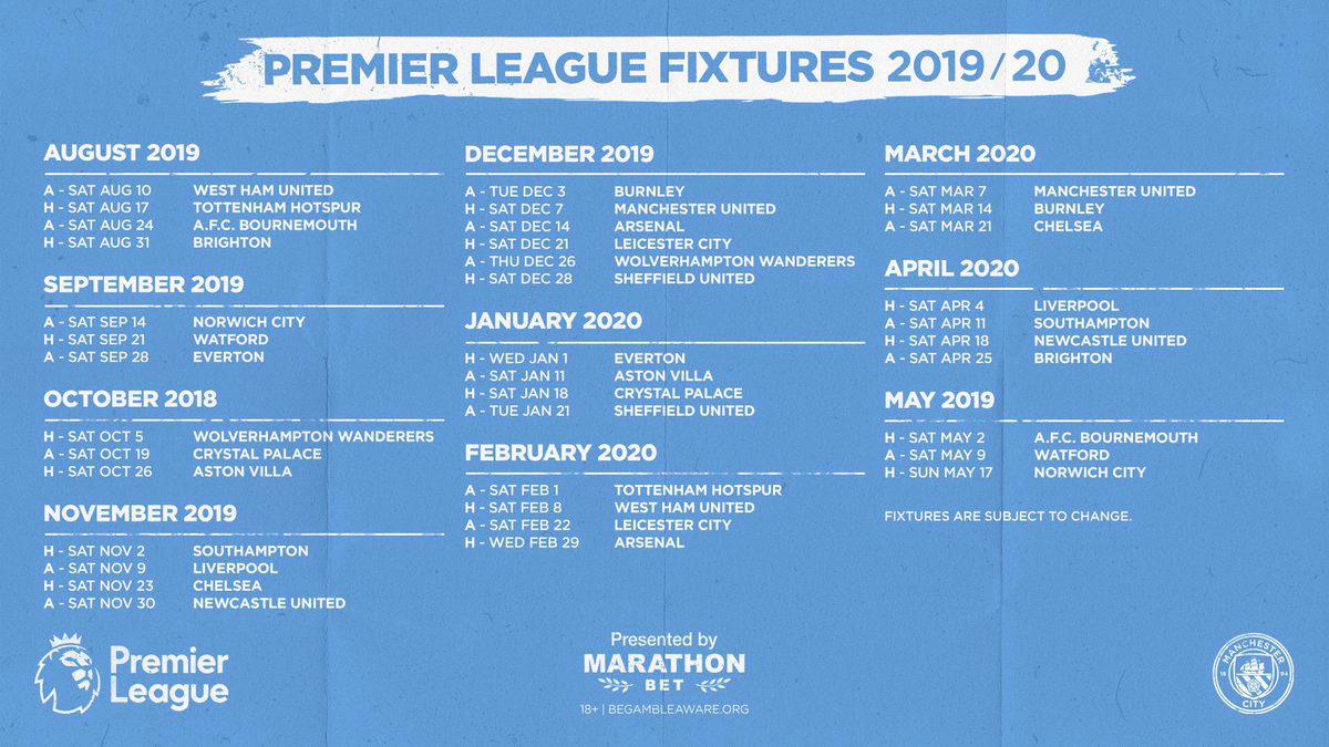 Man City, manchester city, lịch thi đấu Man City mùa 2019-20, lịch thi đấu bóng đá Ngoại hạng Anh của Man City, kết quả bóng đá Man City, bảng xếp hạng Ngoại hạng Anh, link xem trực tiếp Man City