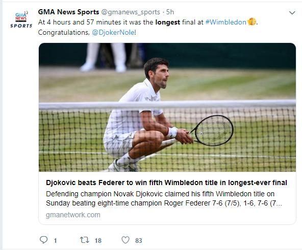 Kết quả Djokovic vs Federer, kết quả quần vượt, Djokovic hạ Federer, kết quả tennis, kết quả quần vượt, chung kết Wimbledon 2019, tennis, Djokovic, Federer