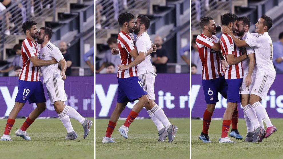 Diego costa, Dani Carvajal, thẻ đỏ, diego costa đánh nhau với Carvajal, real, atletico, real 3-7 atletico, kết quả real đấu với atletico, kết quả icc cup 2019, video bàn thắng real atletico,