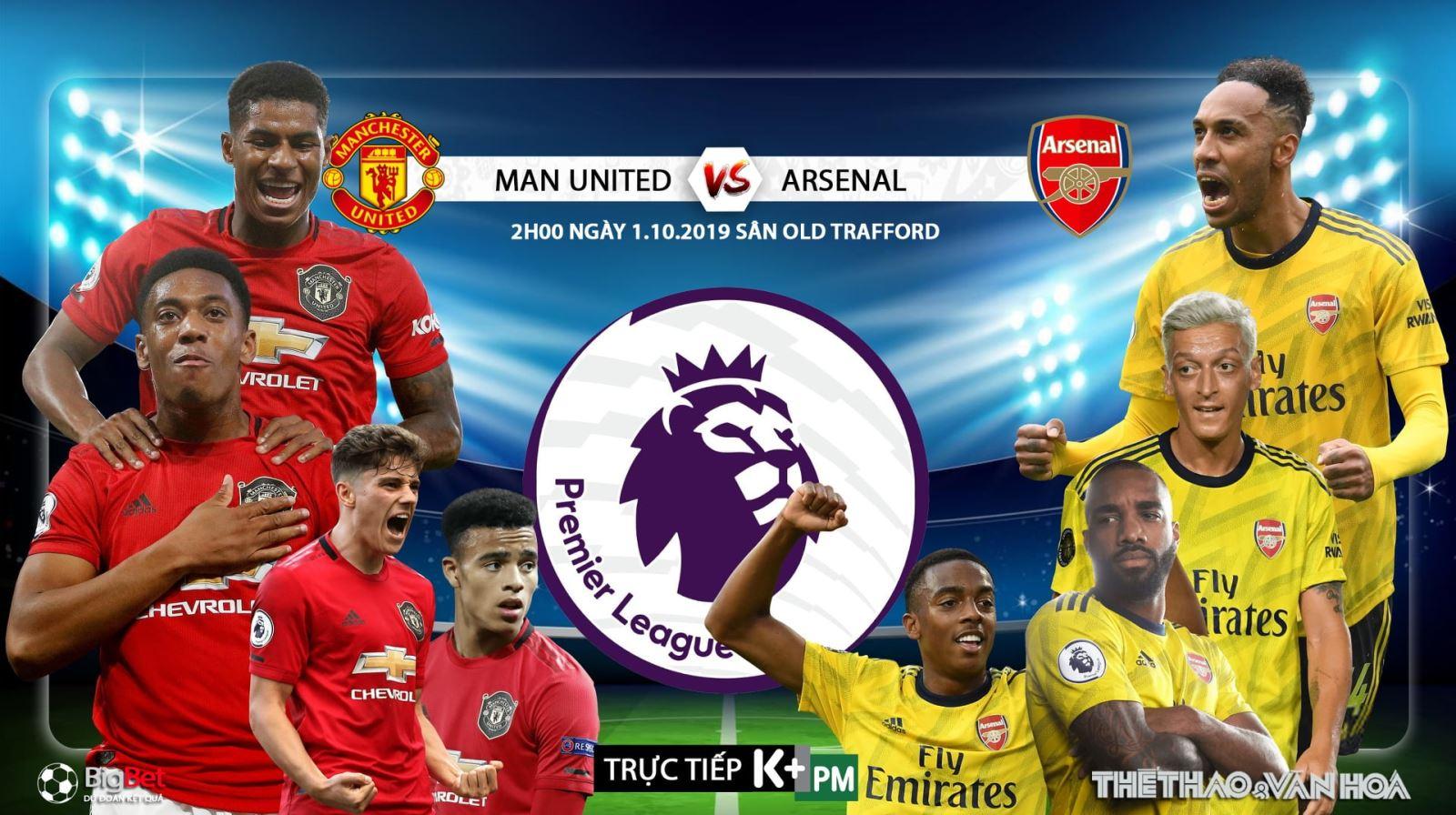Soi kèo bóng đá: MU đấu với Arsenal, Ngoại hạng Anh. Trực tiếp K+, K+ PM