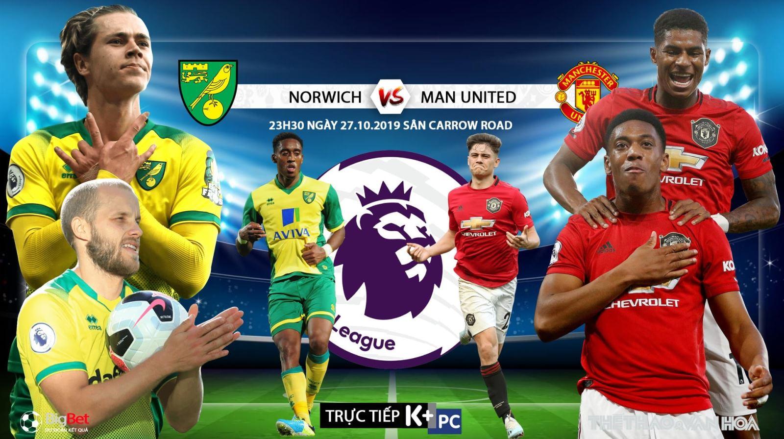 Soi kèo bóng đá: Norwich đấu với MU (23h30 ngày 27/10). Trực tiếp K+, K+PM, K+PC