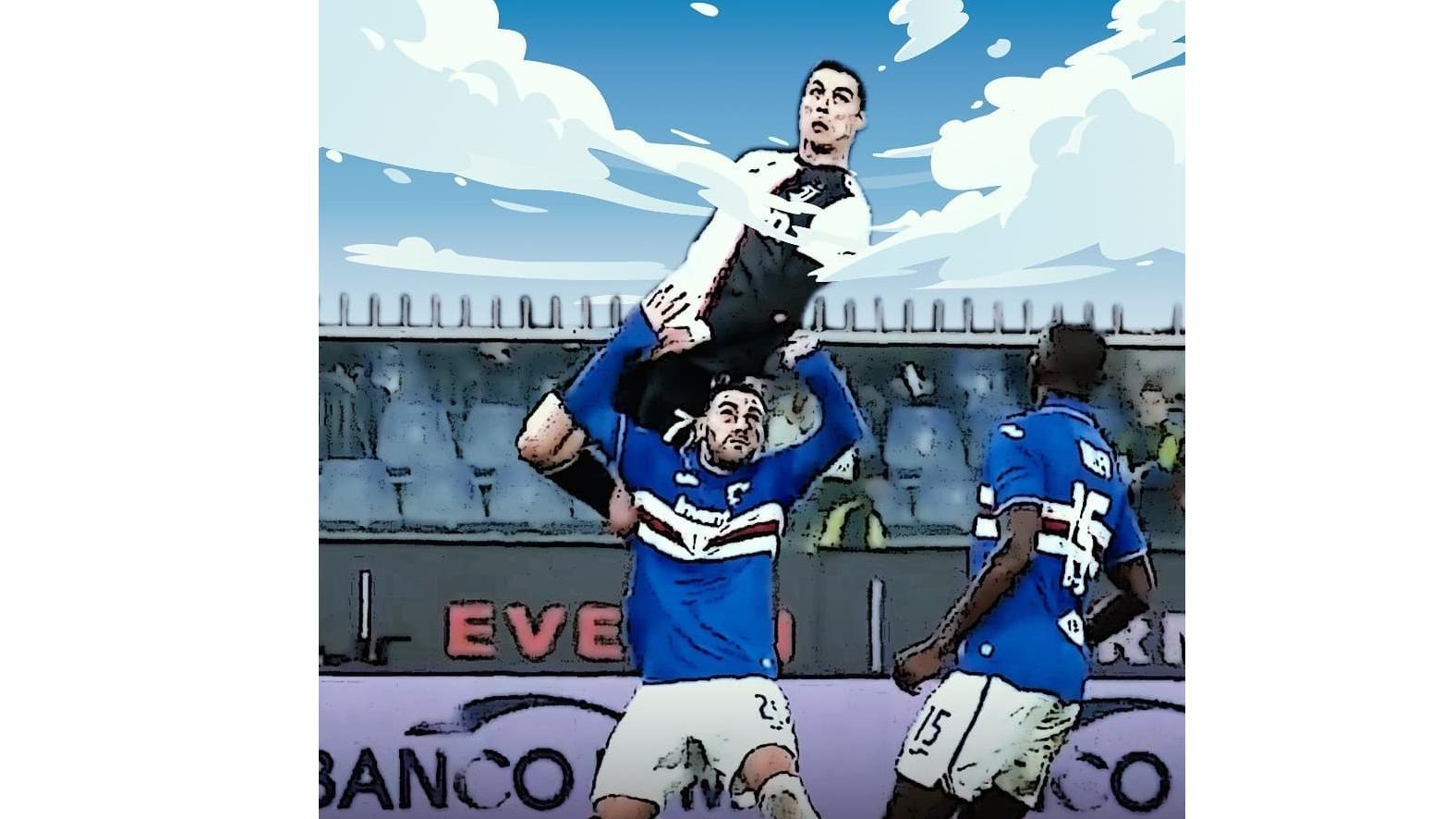 Ronaldo, Cristiano Ronaldo, ronaldo nhảy cao, ronaldo bật cao, ronaldo đánh đầu, Juventus, Sampdoria, ronaldo