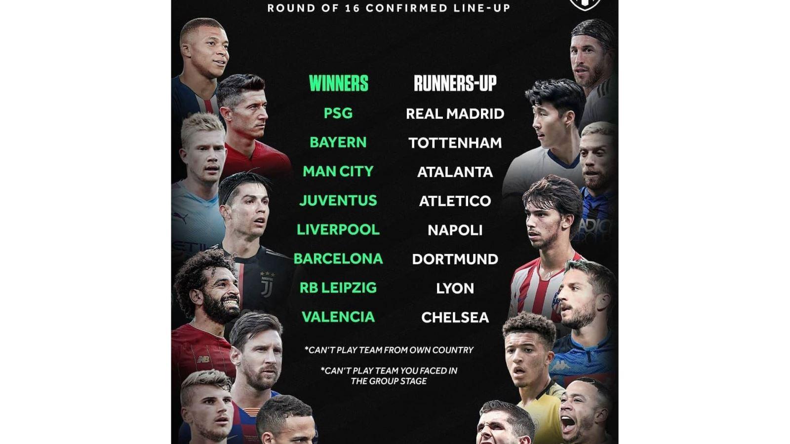Bốc thăm vòng 1/8 Cúp C1, Bốc thăm Cúp C1, Bốc thăm Champions League, Bốc thăm vòng 1/8 Cúp C1 diễn ra khi nào, trực tiếp bốc thăm Cúp C1, MU, uefa, PSG, Real Madrid, Bayern Munich, Tottenham, Man City, Atalanta, Juventus, Atletico Madrid, Liverpool, Napoli, Barcelona, Dortmund, RB Leipzig, Lyon, Valencia, Chelsea