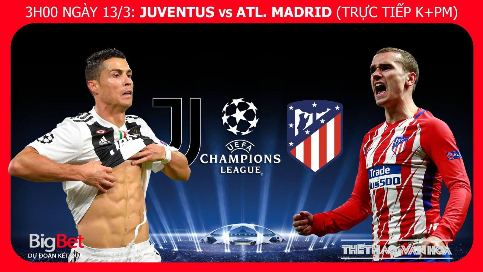 Soi kèo, dự đoán bóng đá Juventus vs Atletico Madrid (03h00,13/03). Kèo bóng đá. Trực tiếp K+PM