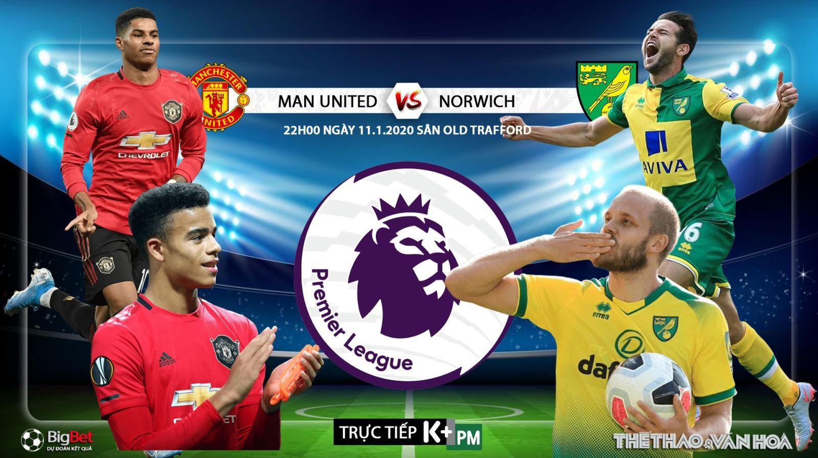 Soi kèo MU vs Norwich. Vòng 22 Giải ngoại hạng Anh. Trực tiếp K+PM