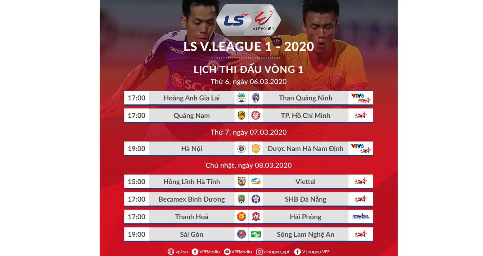 Lịch thi đấu bóng đá, V League, bóng đá, V-League 2020, lịch thi đấu V League, trực tiếp bóng đá, HAGL, TP.HCM, HAGL, VTV6, VTV5, lịch bóng đá V League 2020
