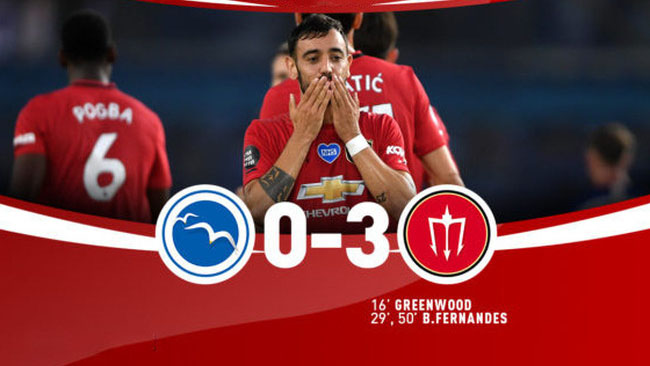 Brighton 0-3 MU: Bruno Fernandes lập cú đúp, MU bám sát Chelsea
