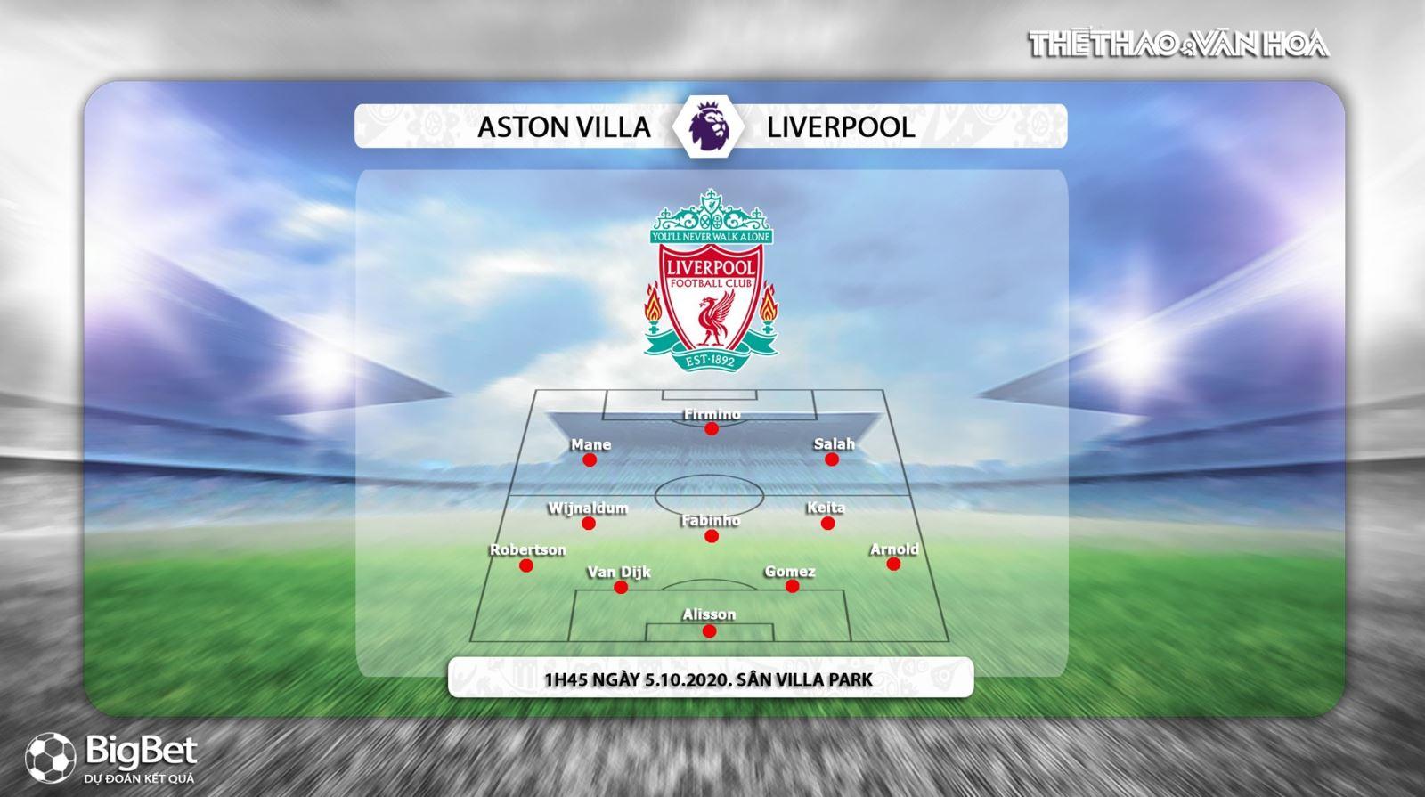 Keo nha cai, kèo nhà cái, Aston Villa vs Liverpool, Trực tiếp bóng đá, Vòng 4 Ngoại hạng Anh, Trực tiếp K+PM, Soi kèo Liverpool đấu với Aston Villa, Kèo Liverpool