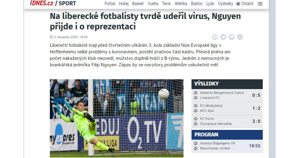 Filip Nguyễn, CH Czech, Slovan Liberec, thủ môn Filip Nguyễn, Europa League, COVID-19, bóng đá, bóng đá hôm nay