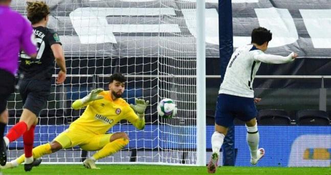 Tottenham, Tottenham - Brentford, Tottenham 2-0 Brentford, Cúp Liên đoàn Anh, kết quả bóng đá, bán kết Cúp Liên đoàn Anh, bóng đá Anh, Son Heung Min, bong da hom nay