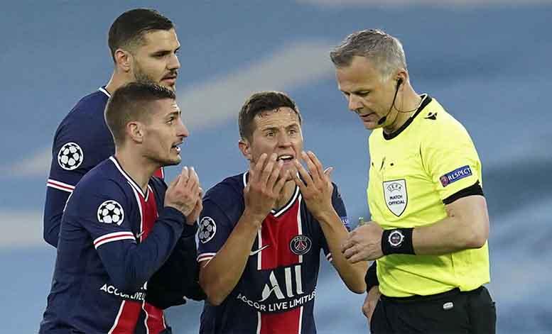 Man City, PSG, trọng tài, Champions League, Cúp C1, Ander Herrera, Marco Verratti