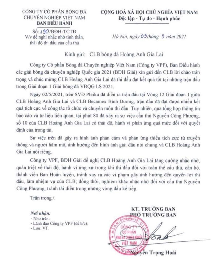 Công Phượng, HAGL, Công Phượng bị nhắc nhở, Công Phượng không bị phạt, tranh cãi Công Phượng không bị phạt, Hoàng Anh gia lai, tin tức bóng đá Việt Nam
