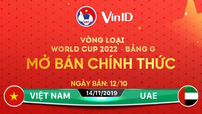 TRỰC TIẾP: Hôm nay bán vé bóng đá Việt Nam đấu với UAE qua Vinid (ví điện tử)