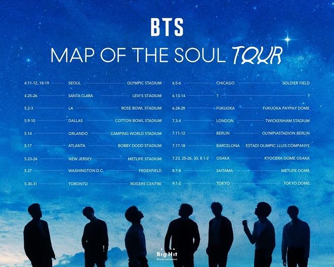 BTS, san bằng doanh số tour, Ariana Grande, Taylor Swift, BTS tour, Map Of The Soul, BTS: Map Of The Soul Tour, BTS 2020