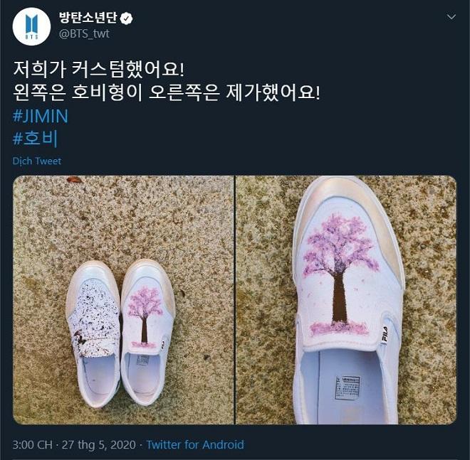 BTS, Jimin và J-Hope thiết kế giày, Jimin và J-Hope customize giày, giày Fila phong cách bts, Line Friends bts, tài thiết kế của BTS, Jimin và J-Hope trổ tài thiết kế