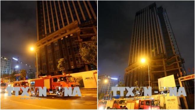Cháy trên tầng cao tại toà nhà MB Grand Tower 63 Lê Văn Lương