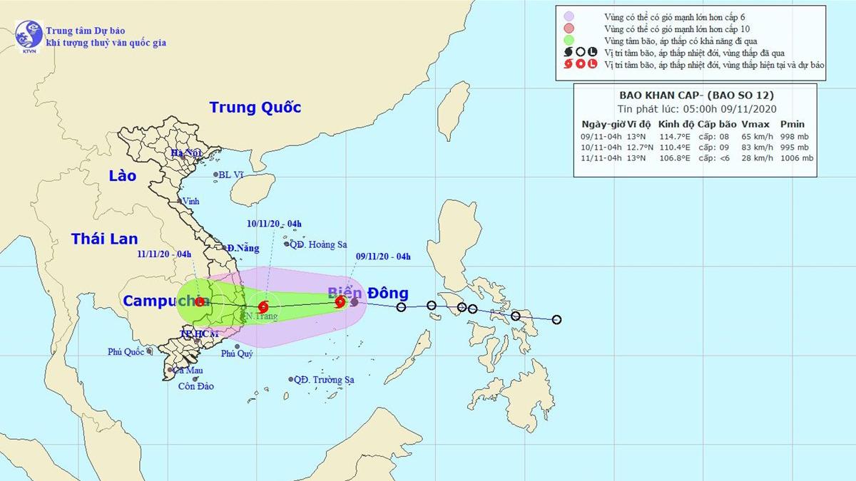 Bão số 13 dự báo sẽ đổ bộ vào đất liền khu vực Trung Bộ vào tối 14/11 đến rạng sáng 15/11