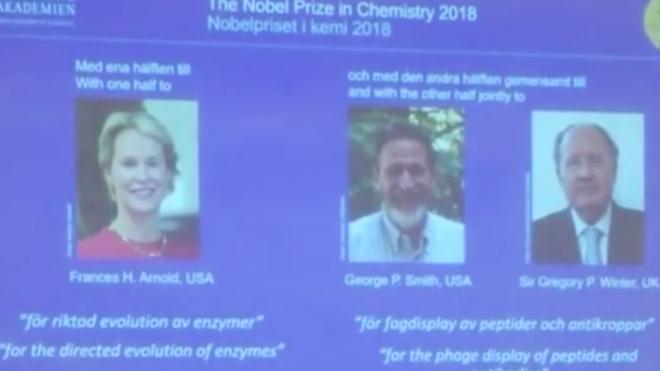 VIDEO: Nobel hoá học 2018 được trao cho nghiên cứu về Protein