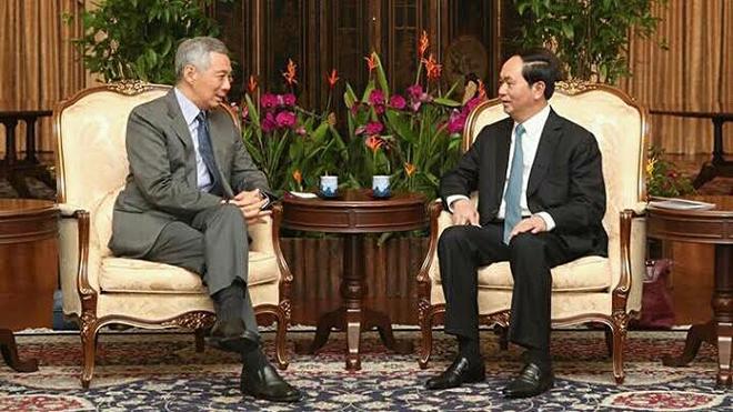 Chủ tịch nước Trần Đại Quang gặp Thủ tướng Singapore Lý Hiển Long