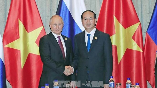 Chủ tịch nước Trần Đại Quang gặp song phương Tổng thống Nga Vladimir Putin