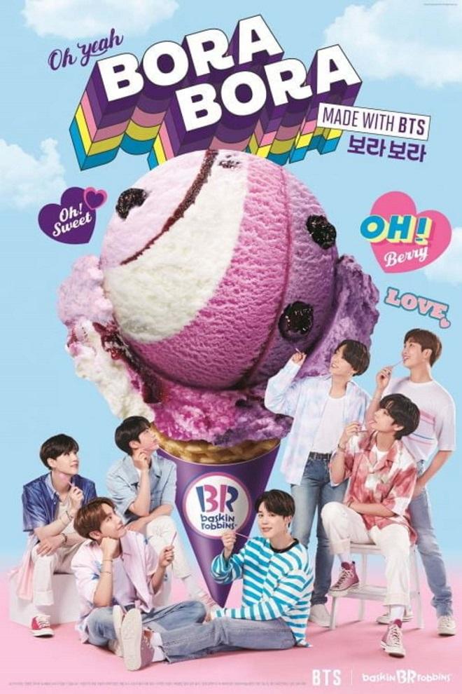 BTS, Jin, Jimin, RM, V, Suga, Jungkook, J-Hope, BTS Baskin Robbins, vị kem yêu thích của BTS, các thành viên BTS thích kem gì, BTS Bora Bora, BTS Block Pack