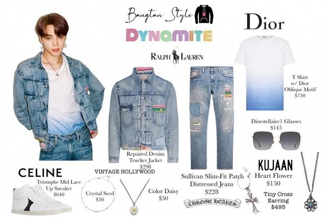 BTS, Jimin, BTS Dynamite, thời trang BTS, denim-on-denim JImin, Jimin denim, phong cách thời trang của BTS, JImin fashion, bts poster dynamite, dynamite bts