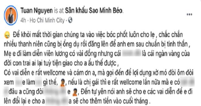 Dòng tin nhắn mà Minh Béo nhắn cho nam diễn viên Tuấn Nguyễn. (Ảnh: Facebook nhân vật)