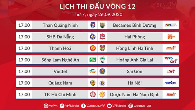 Trực tiếp bóng đá V-League vòng 12: Viettel vs Sài Gòn. Quảng Nam vs Hà Nội