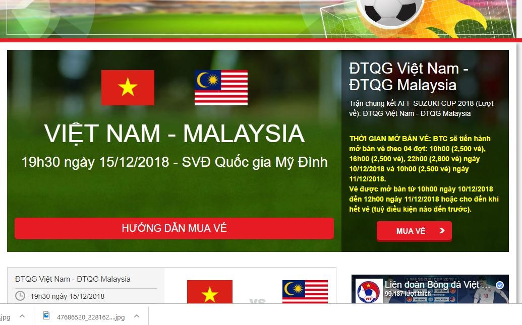 VFF chỉ bán 10.000 vé online trận chung kết Việt Nam vs Malaysia