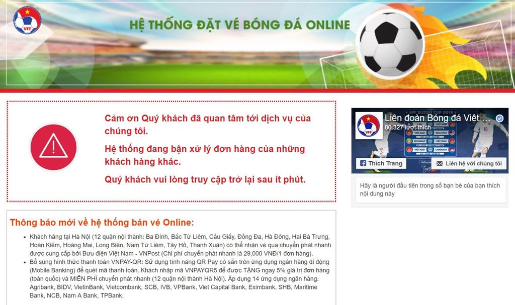 VFFđiều chỉnh kĩ thuật giúp người hâm mộ mua vé online trận Việt Nam vs Malaysia