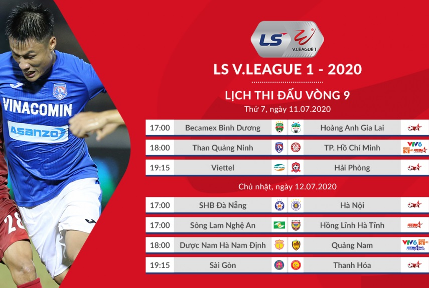 Cập nhật kết quả bóng đá và bảng xếp hạng V-League 2020 vòng 9