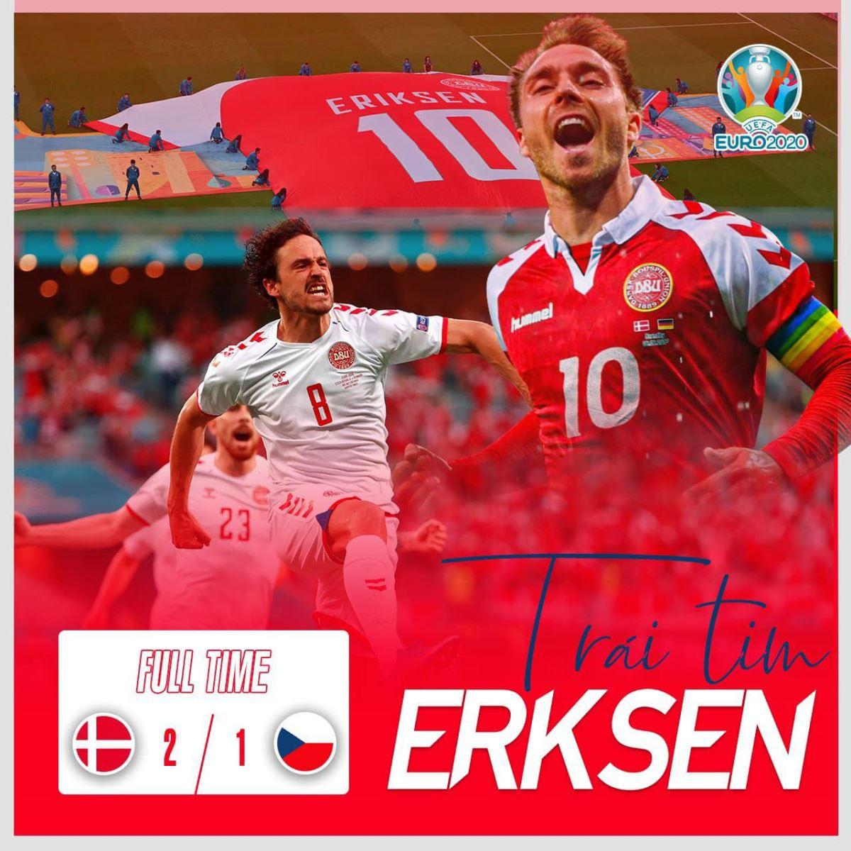Séc 1-2 Đan Mạch, Ket qua bong da, Bàn thắng và highlights, Kết quả bóng đá EURO 2021, Kết quả Séc đấu với Đan Mạch, Kết quả Séc vs Đan Mạch, VTV6, VTV3 trực tiếp