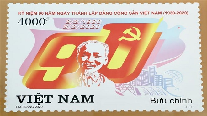 """Kỷ niệm 90 năm thành lập Đảng: Phát hành bộ tem """"Kỷ niệm 90 năm thành lập Đảng Cộng sản Việt Nam"""""""