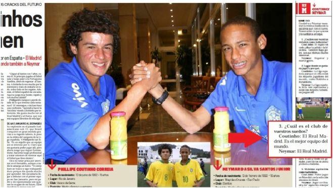Neymar và Coutinho từng ước được chơi cho Real Madrid