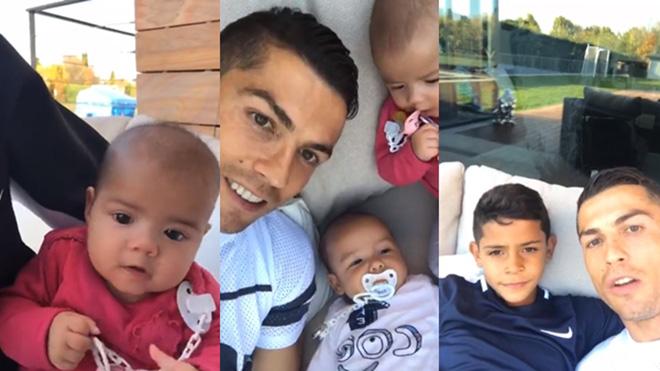 Cristiano Ronaldo lần đầu selfie đủ 4 con và bạn gái