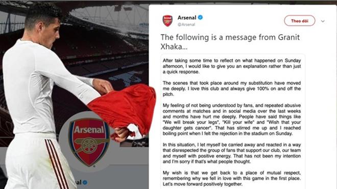 Arsenal, bong da, bóng đá hôm nay, ket qua bong da, Granit Xhaka, Granit Xhaka chửi CĐV, Granit Xhaka xin lỗi CĐV, Lịch thi đấu bóng đá hôm nay, Pháo thủ, bóng đá Anh