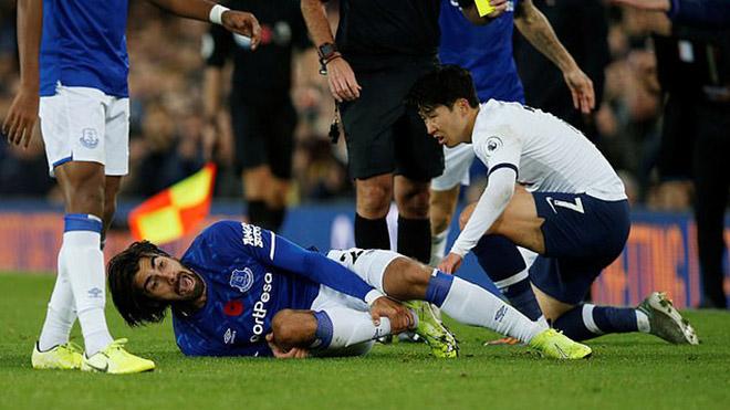 truc tiep bong da, Everton 1-1 Tottenham, kết quả bóng đá Anh, Andre Gomes gãy chân, Son Heung Min, bảng xếp hạng ngoại hạng Anh, Gomes, Tottenham, Everton