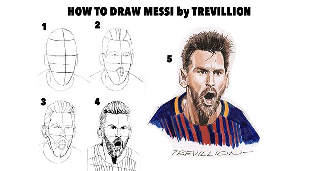 Bong da, Bóng đá, Tin tuc bong da, Hướng dẫn 5 bước đơn giản vẽ Messi như thật, tin bong da, tin bóng đá, tin tức bóng đá, bong da hom nay, Messi, Barcelona, Barca