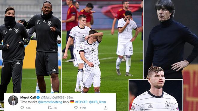 Oezil ngầm chỉ trích Joachim Loew sau thất bại 0-6 của Đức trước Tây Ban Nha