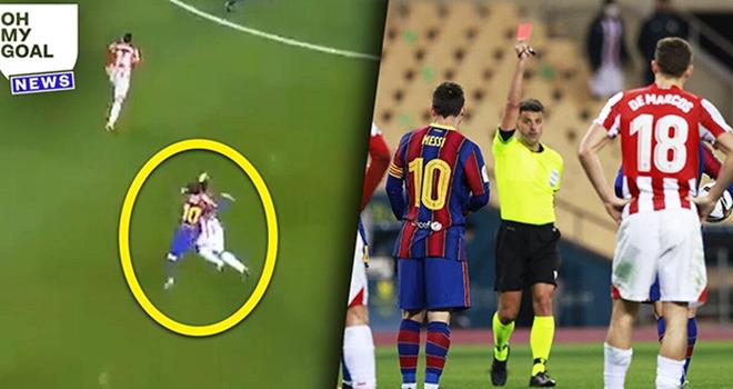 Messi nhận thẻ đỏ đầu tiên, Barcelona vs Bilbao, Siêu cúp Tây Ban Nha, Lionel Messi, Messi nhận thẻ đỏ, Messi đánh nguội, Barcelona, kết quả siêu cúp Tây Ban Nha